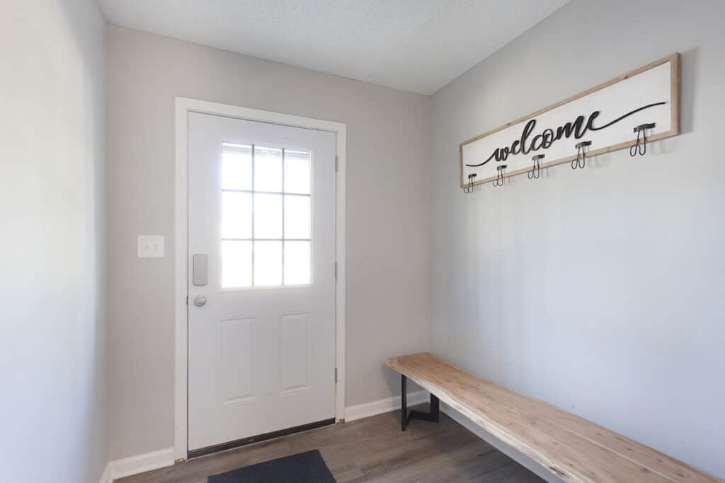 selling a home in winter mudroom